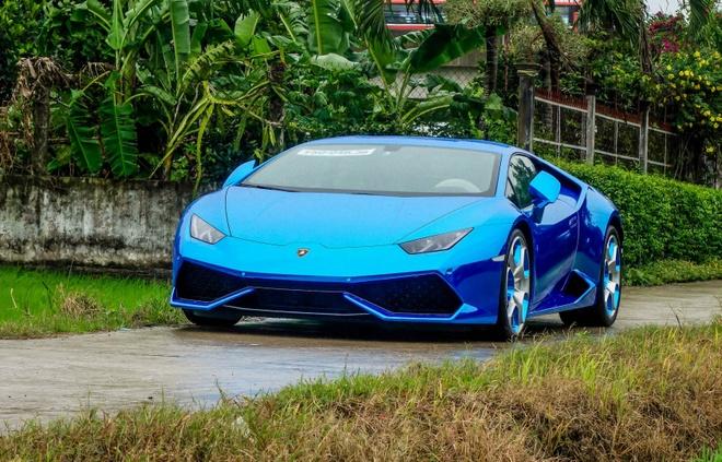 Sieu xe Lamborghini Huracan tren duong que Long An hinh anh