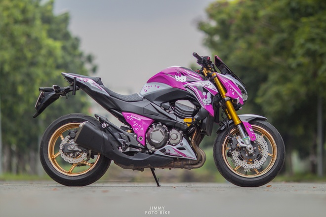Kawasaki Z800 do Hello Kitty cua nu biker Sai Gon hinh anh 5