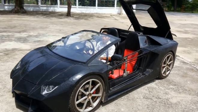 Nong dan Thai Lan che tao Lamborghini Aventador Roadster nhai hinh anh 2