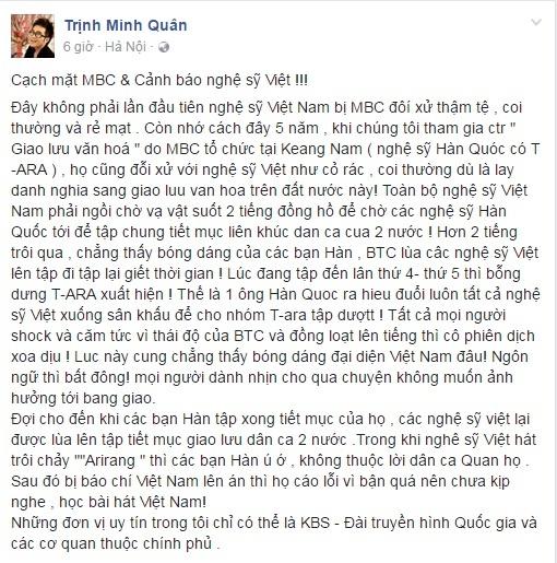 Minh Quan buc xuc chuyen ca si Viet bi coi thuong trong show Han Quoc hinh anh 1