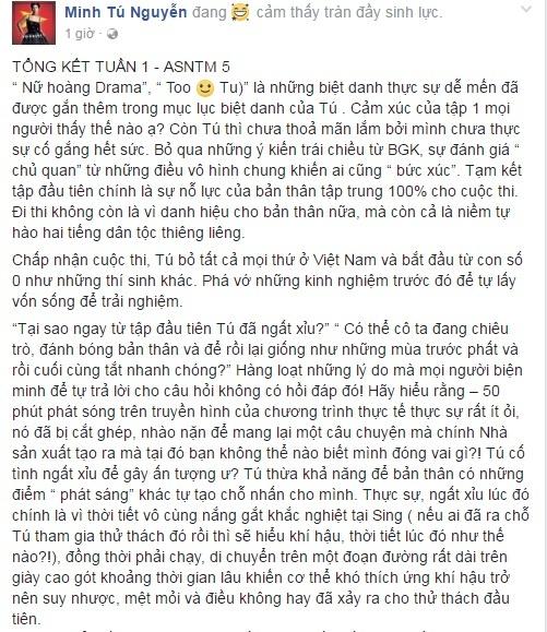 Minh Tu giai thich ly do bi ngat xiu o tap dau Asia's Next Top Model hinh anh 1