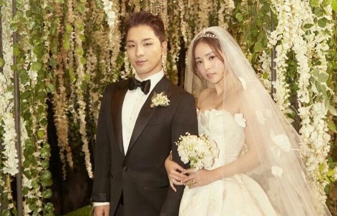 Taeyang (Big Bang) va vo hanh phuc khieu vu trong tiec cuoi hinh anh