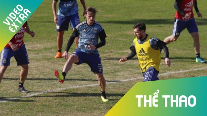 Messi cung dan sao 'ban chim' trong buoi tap truoc World Cup 2018 hinh anh