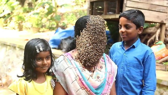 Nguoi phu nu An Do than nhien cho hang nghin con ong bu kin mat hinh anh