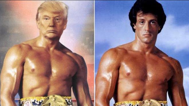 TT Trump dang hinh ghep voi vo sy Rocky tao ra con bao anh che hinh anh