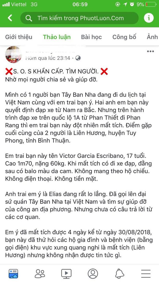 Du khach Tay Ban Nha mat tich tai Binh Thuan khi phuot bang xe dap hinh anh 2