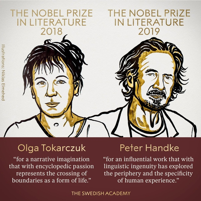 Nobel Van hoc 2019,  Be boi tinh duc,  Hai giai thuong Van hoc,  Vien Han lam Thuy Dien,  Quy Nobel anh 1