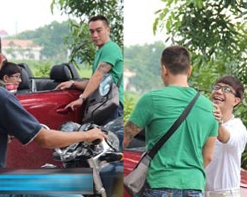 Long Nhat lai xe Lexus dao pho Ha Noi cung ban trai hinh anh