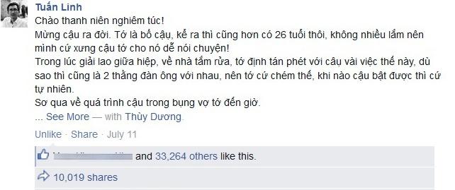 Nhat ky hai huoc tang con trai vua chao doi hut 46.000 like hinh anh 1 Chia sẻ của Tuấn Linh trên  Facebook.