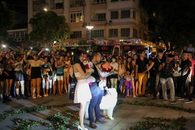 Man cau hon gay chu y vai gio co du hanh phuc ca doi? hinh anh 1 Màn cầu hôn gây chú ý trên phố đi bộ Nguyễn Huệ (TP HCM).