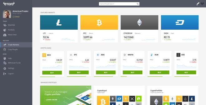 Nền tảng đầu tư eToro. Ảnh: Bitcoinist.
