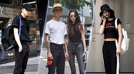 Trang den 'chiem linh' street style cua dan tin do thoi trang Han Quoc hinh anh