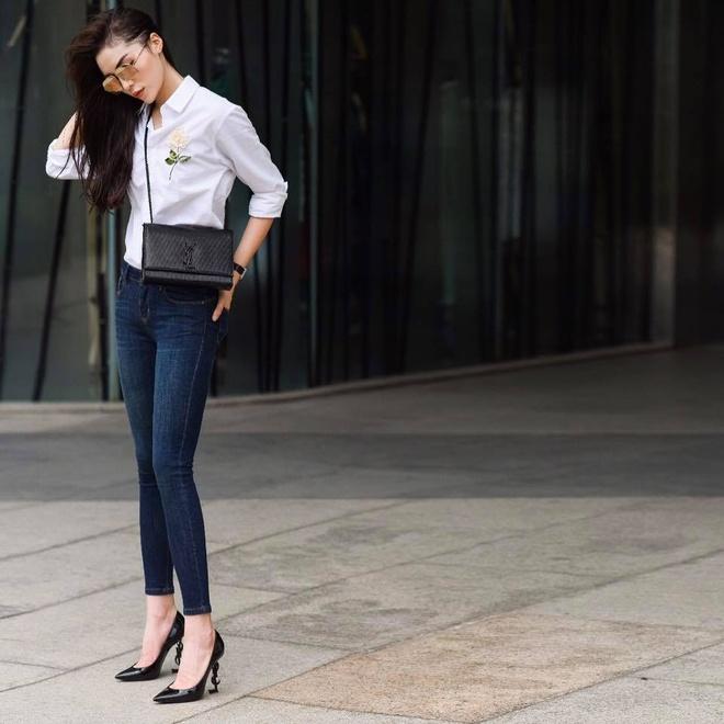 Ket hop trang phuc cung quan jeans nhu Thanh Hang, Hoang Thuy Linh hinh anh 4