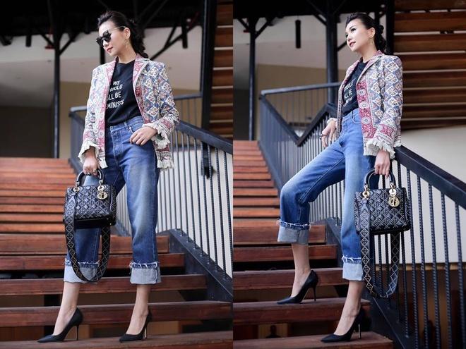 Ket hop trang phuc cung quan jeans nhu Thanh Hang, Hoang Thuy Linh hinh anh 1