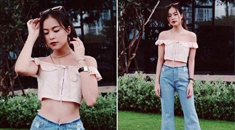 Ket hop trang phuc cung quan jeans nhu Thanh Hang, Hoang Thuy Linh hinh anh