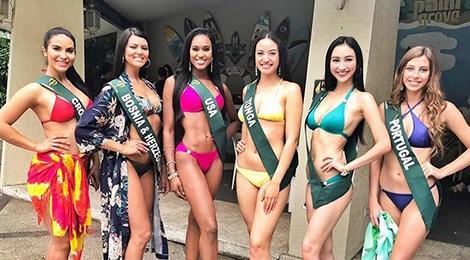Ha Thu do dang cung thi sinh Hoa hau Trai dat trong trang phuc bikini hinh anh