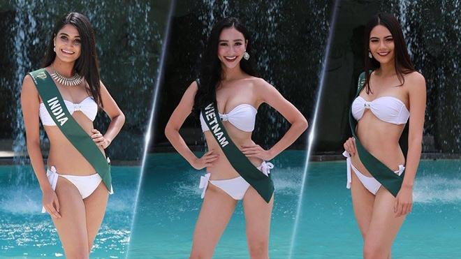 Ha Thu khoe dang trong trang phuc bikini tai Hoa hau Trai dat hinh anh