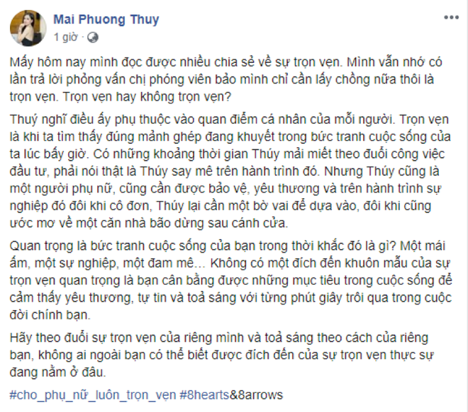 Mai Phuong Thuy: 'Tron ven la su cam nhan cua moi nguoi' hinh anh 2 MPT2.png