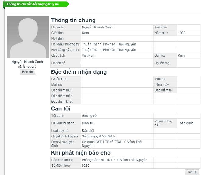 Bat nghi pham giet 2 chu quan karaoke o Mong Cai hinh anh 2 Oanh đang bị Công an Thái Nguyên truy nã đặc biệt. Ảnh chụp màn hình trang web của Cục Cảnh sát Truy nã tội phạm