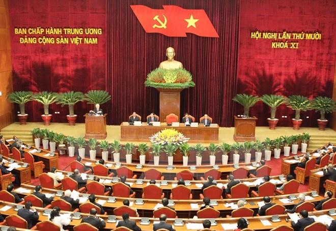 Toàn cảnh phiên khai mạc Hội nghị lần thứ 10 Ban chấp hành Trung ương Đảng khóa XI. (Ảnh: Trí Dũng/TTXVN)