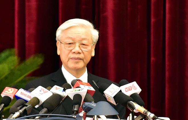 Trung uong Dang thao luan phuong an nhan su khoa 12 hinh anh 1 ổng Bí thư Nguyễn Phú Trọng phát biểu khai mạc Hội nghị Trung ương lần thứ 12 (khóa XI)