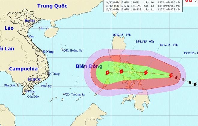 Giam hon 10 do C, mien Bac ret dam, ret hai hinh anh 2 Cơn bão ngoài khơi Philippines và đang hướng thẳng và quốc đảo này. Ảnh: NCHMF.