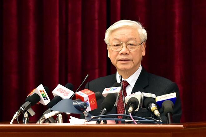Tổng Bí thư Nguyễn Phú Trọng phát biểu bế mạc Hội nghị. Ảnh VGP