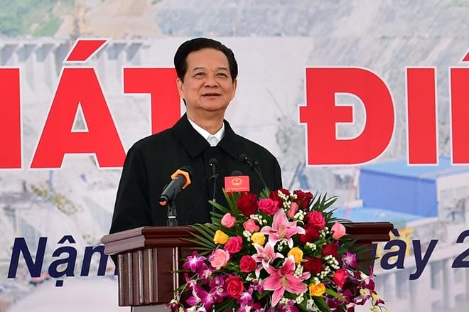To may so 1 Thuy dien Lai Chau phat dien hinh anh 1 Thủ tướng Nguyễn Tấn Dũng phát biểu tại buổi lễ. Ảnh: VGP/Nhật Bắc