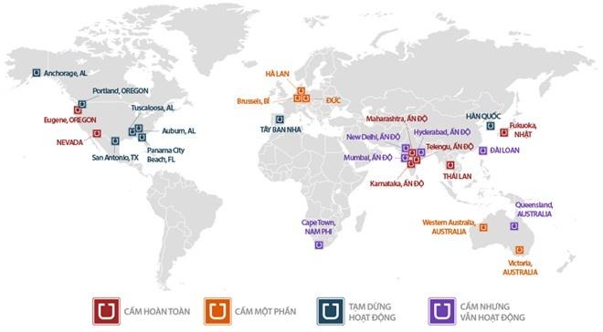Ung xu voi Grab, Uber: Sau thi diem se la gi? hinh anh 2 Bản đồ thể hiện những nơi Uber bị cấm hoặc tạm dừng hoạt động. Nguồn GlobalPost