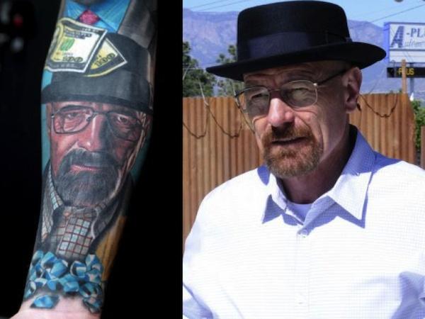 Nhân vật Walter White do diễn viên Bryan Cranston thủ vai trên cánh tay của  James.