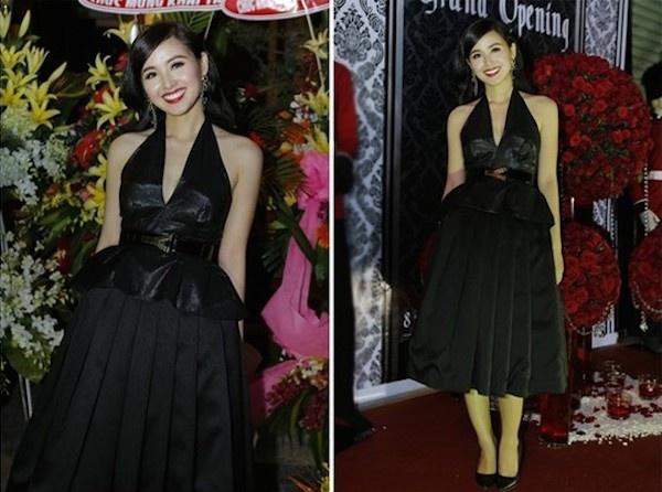 Khi hot girl Viet kem xinh vi loi thoi trang hinh anh 10 Tông màu đen có phần già dặn, thiết kế váy rườm rà khiến hình ảnh hot girl Tâm Tít kém phần sang trọng.