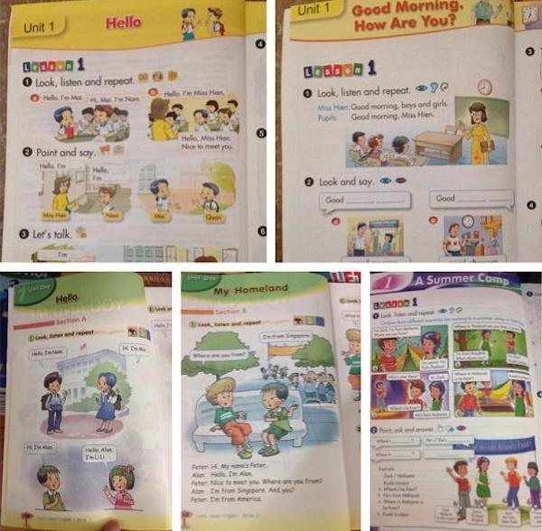 Sách dạy tiếng Anh của học sinh VN được Linh chia sẻ trên Facebook cá nhân.