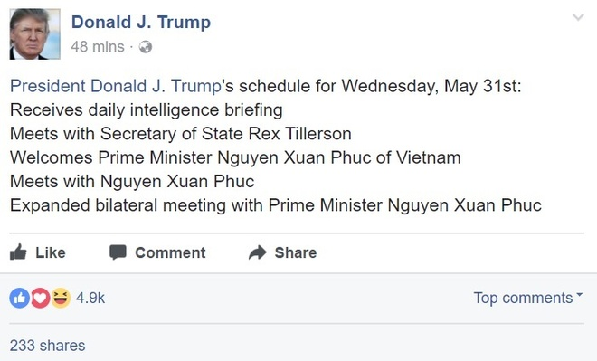 Facebook TT Donald Trump dang lich gap Thu tuong Nguyen Xuan Phuc hinh anh 1