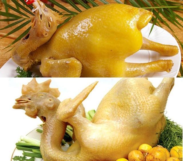 Nhan biet ga 'an' hoa chat hinh anh 1 Da gà ta có màu vàng nhạt (dưới), còn gà nhuộm hóa chất có màu vàng óng và đều (trên).