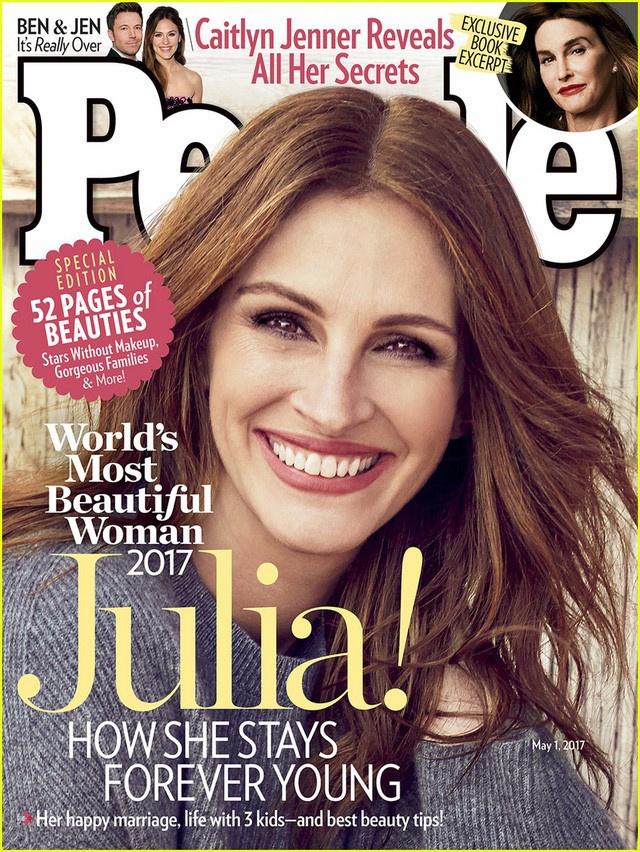 Nhờ vẻ trẻ trung, rạng rỡ, Julia Roberts lần thứ 5 được vinh danh người phụ  nữ đẹp nhất thế giới năm nay. Ảnh: People.