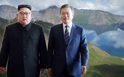 Ong Kim Jong Un va Moon Jae In tham ngon nui 'linh thieng' hinh anh
