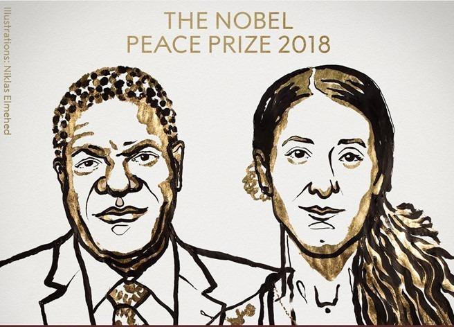 Nobel Hoa binh 2018 cho bac si va nha hoat dong chong bao luc tinh duc hinh anh