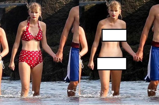 "Phiên bản crack DeepNude ""hô biến"" tấm hình của Taylor Swift. Ảnh: Hybridtechcar."