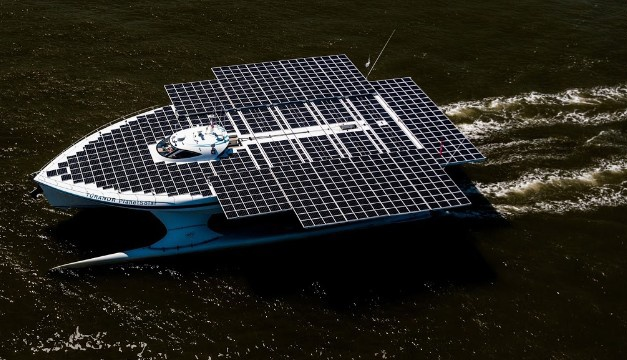 Close-up of the world's largest solar yacht