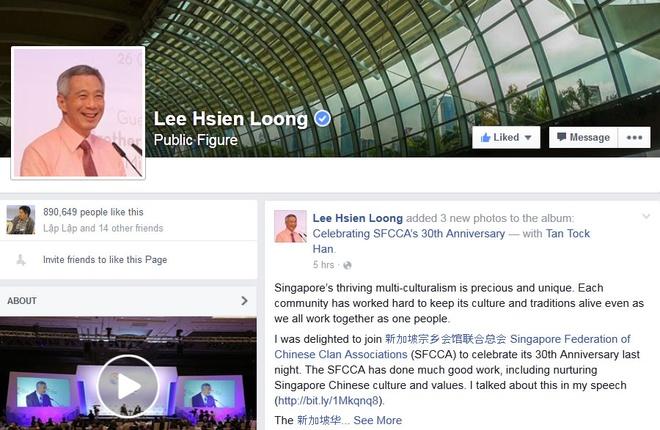 Thu tuong Singapore gan gui tren Facebook hinh anh 1