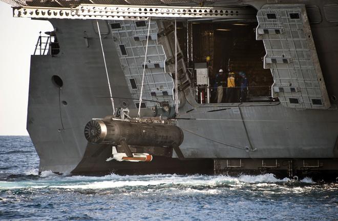 He thong do thuy loi 700 trieu USD cua My hoan toan vo dung hinh anh 1 RMS được triển khai từ tàu tác chiến ven bờ của Hải quân Mỹ. Ảnh: US Navy
