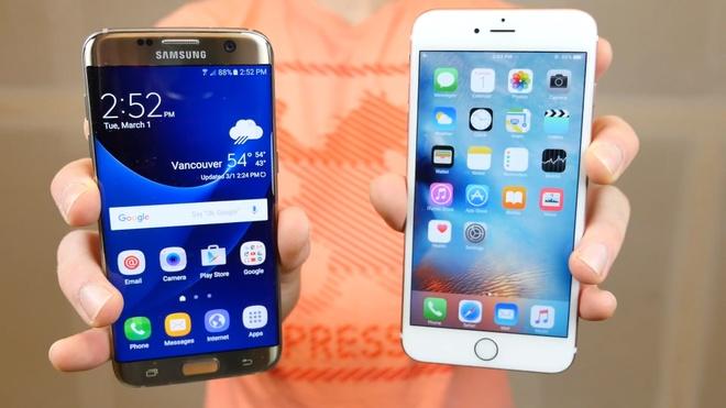 Galaxy S7 edge so do ben voi iPhone 6S Plus hinh anh