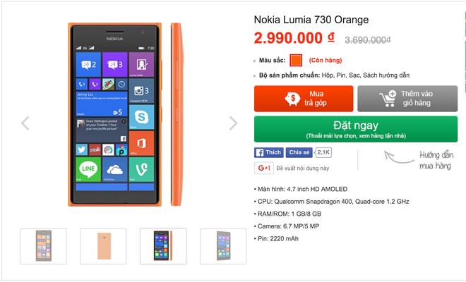 Nokia Lumia 730 giam gia sau ve muc duoi 3 trieu hinh anh 1