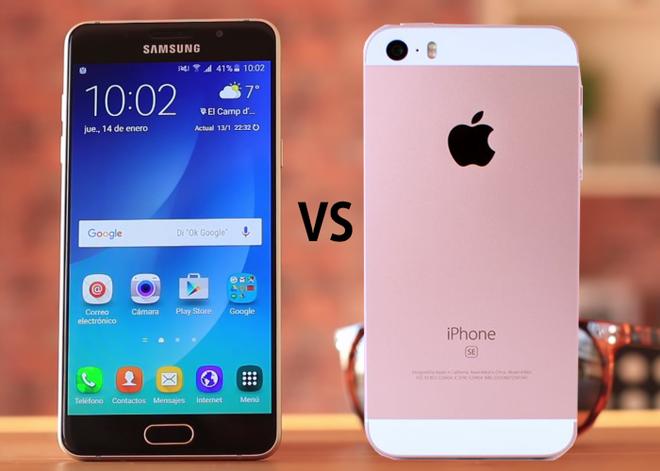So sanh iPhone SE voi Galaxy A5 hinh anh