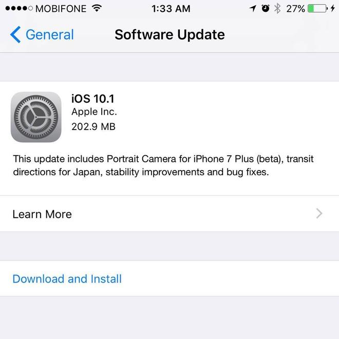 iOS 10.1 ra mat, cai thien chup anh cho iPhone 7 Plus hinh anh 1