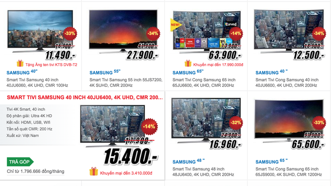Smart TV dong loat giam gia, TV 4K ngay cang re hinh anh 1