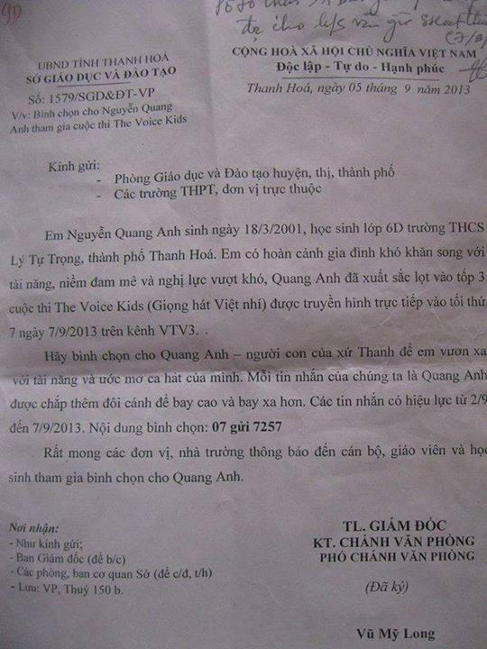Thanh Hoa xac nhan dung cong van ung ho Quang Anh hinh anh 2