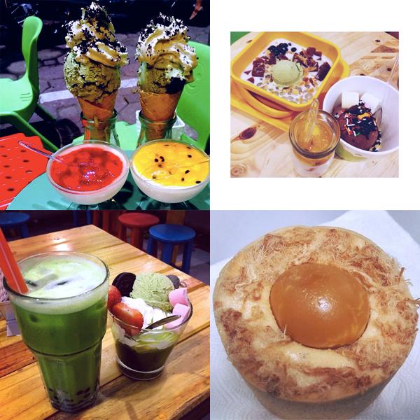 Thuong thuc do uong va trang mieng matcha ngon tai Ha Noi hinh anh 9        Cùng nhiều đồ tráng miệng khác như: Panna Cotta, kem tự chọn, Bánh bông lan trứng muối phomai.
