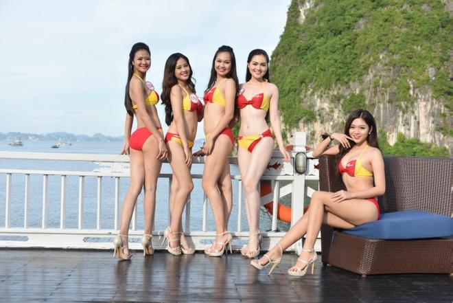 Dan thi sinh HHVN khoe sac trong trang phuc bikini Vietjet hinh anh 7