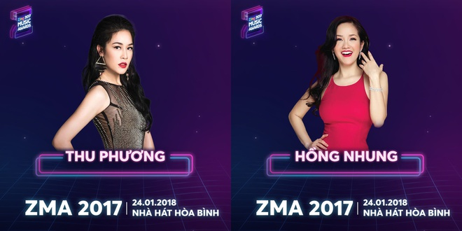 Hong Nhung, Thu Phuong va My Linh hoi ngo o le trao giai ZMA 2017 hinh anh 1